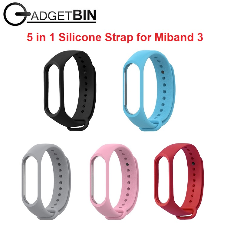 5 in 1 Set Xiaomi Miband 3 Strap Colourful Silicone Replacement Strap for MiBand 3 MiBand3 Bracelet