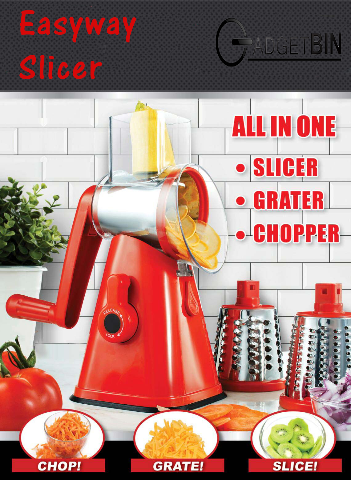 Easyway Slicer 3 in 1 Spinning/Rotating Countertop Food Slicer, Chopper, and Grater