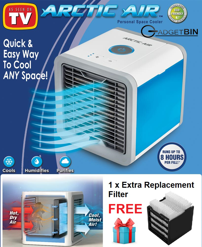 Arctic Air Personal Space Cooler Air Conditioner Humidifier 3 Speed LED Night Light Air Cooler Fan FREE 1 x Extra Replacement Filter