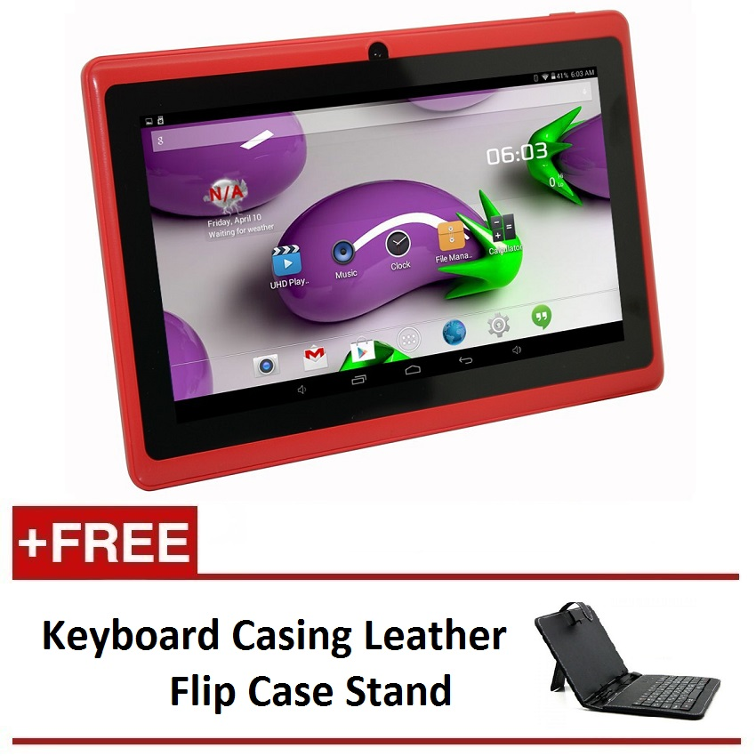 "7"" Ewing Monster A33 Quad Core 1.5gHz 8GB Bluetooth Dual Camera Android 4.4 Tablet (Red) FREE Keyboard Casing Leather Flip Case Stand"