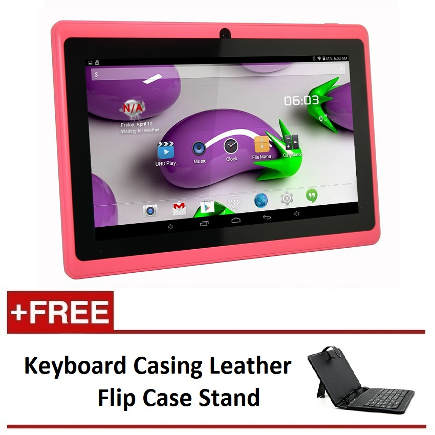 "7"" Ewing Monster A33 Quad Core 1.5gHz 8GB Bluetooth Dual Camera Android 4.4 Tablet (Pink) FREE Keyboard Casing Leather Flip Case Stand"