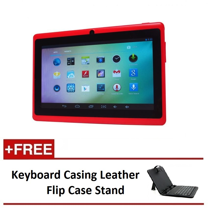 "Ewing 7"" PRO A33 Quad Core 1.5gHz Bluetooth Dual Camera Android 4.4 tablet (Red) FREE Keyboard Casing Leather Flip Case Stand"