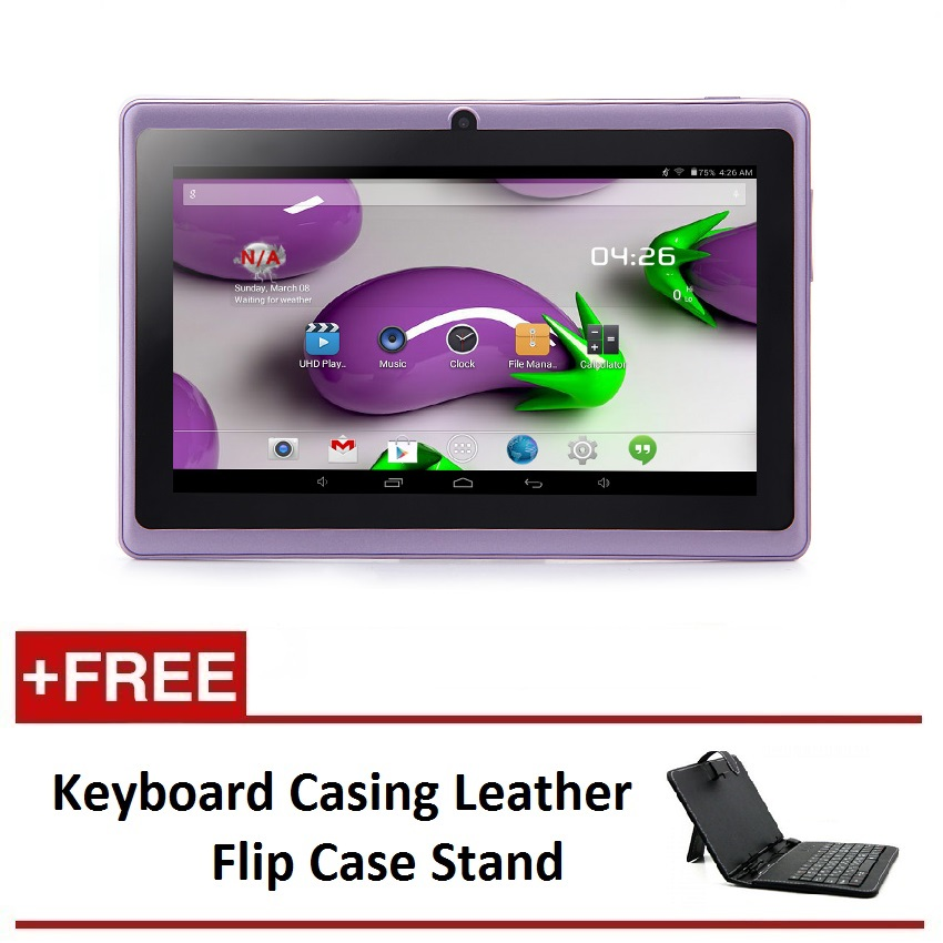 "7"" Ewing Monster A33 Quad Core 1.5gHz 8GB Bluetooth Dual Camera Android 4.4 Tablet (Purple) FREE Keyboard Casing Leather Flip Case Stand"