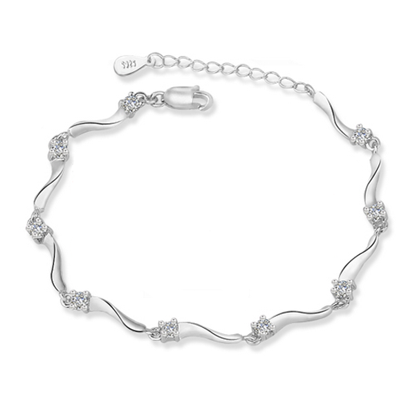 YOUNIQ Rock Stars 925 Sterling Silver Bracelet with Cubic Zirconia (White)