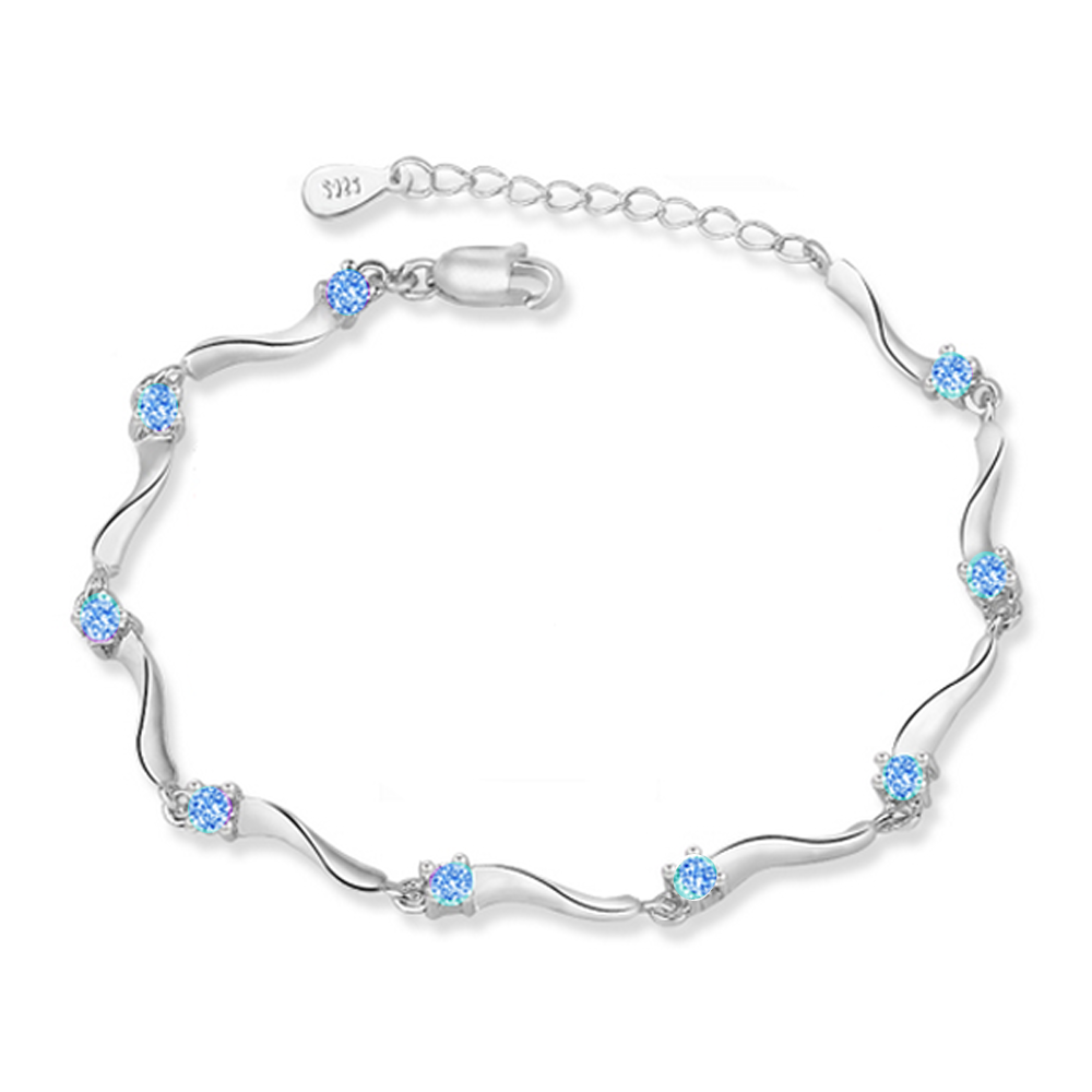 YOUNIQ Rock Stars 925 Sterling Silver Bracelet with Cubic Zirconia (Blue)