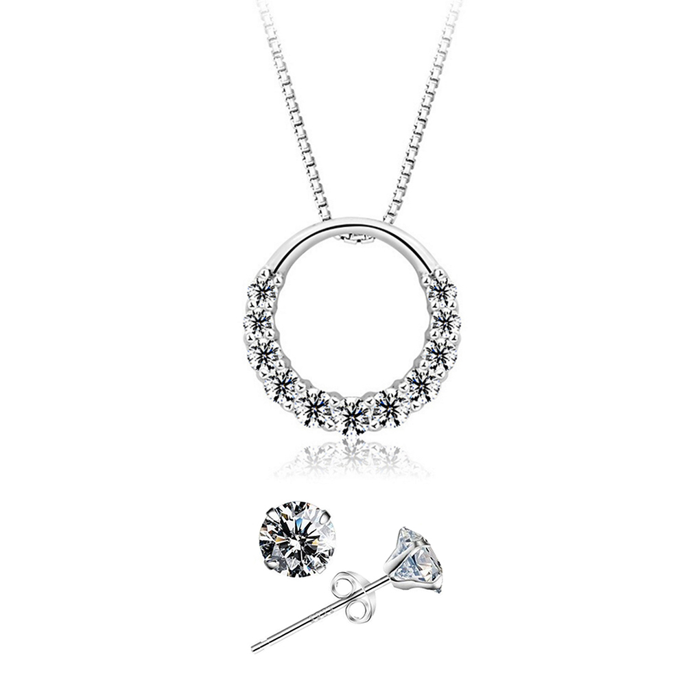 YOUNIQ D'Lord 925 Sterling Silver Necklace Pendant with Cubic Zirconia & Earrings Set