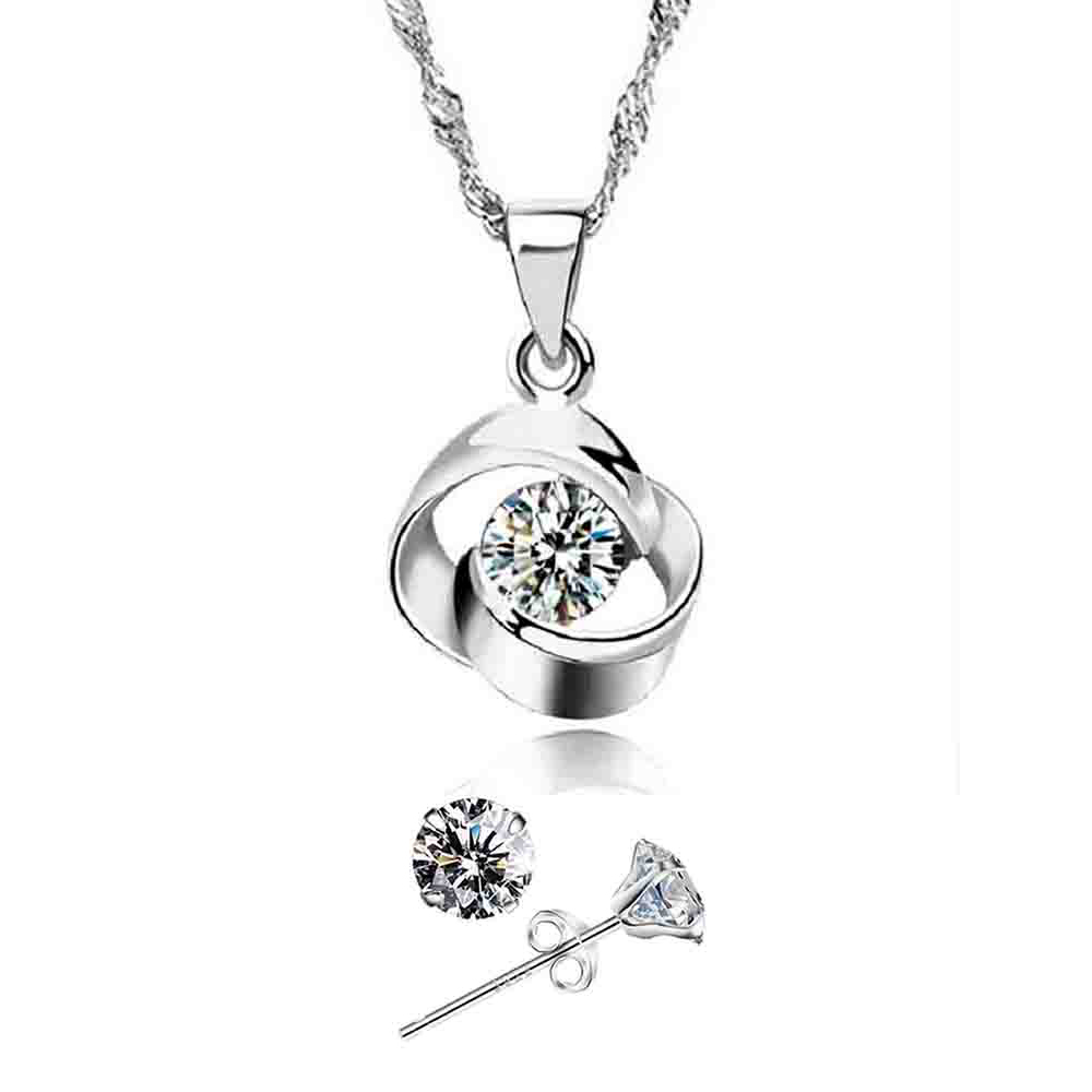 YOUNIQ Hana 925 Sterling Silver Necklace Pendant with Cubic Zirconia & Earrings Set