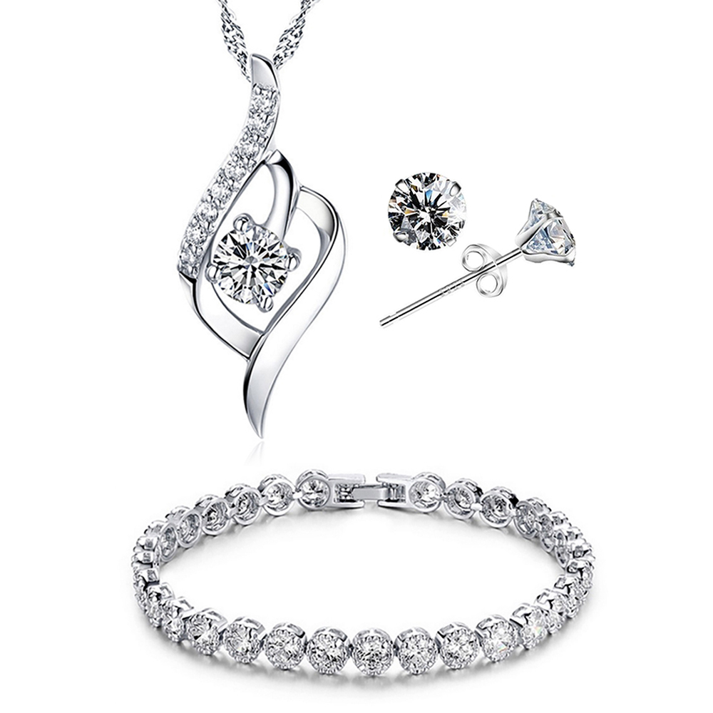 YOUNIQ Weave 925 Sterling Silver Necklace Pendant with Cubic Zirconia, Earrings and Bracelet Set