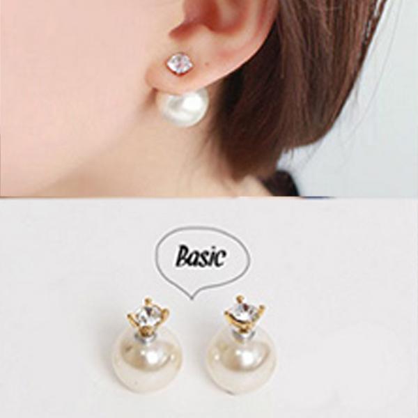 YOUNIQ-Basic Korean CZ Pearl Earring