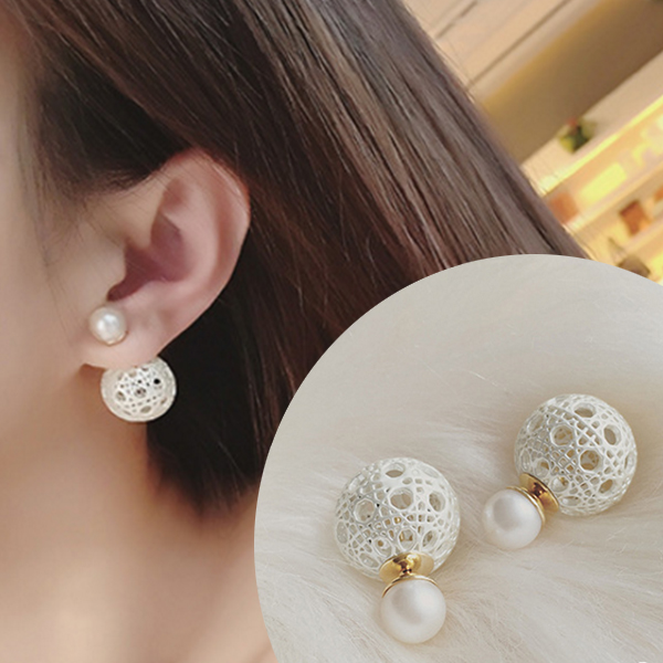 YOUNIQ-Basic Korean Openwork Pearl Earring