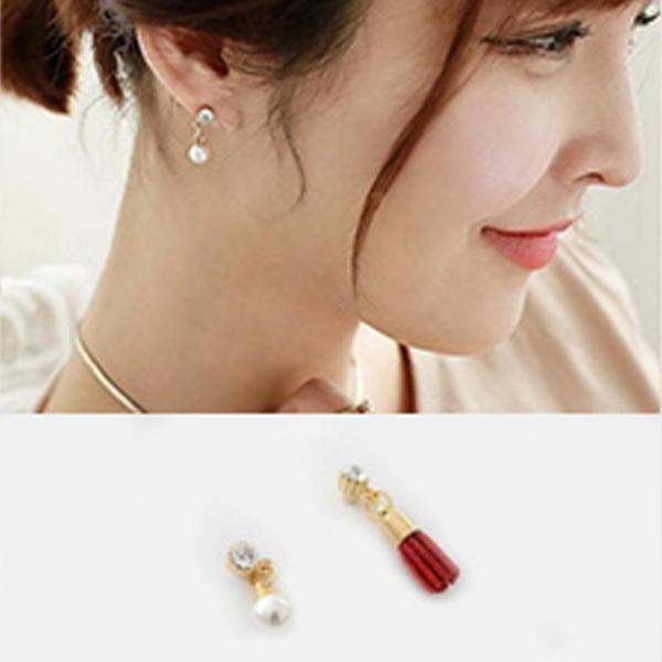 YOUNIQ-Basic Korean Wine Pearl & Tassel AB Earring