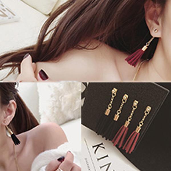 YOUNIQ-Basic Korean Black/Red Long Tassel Earring- 2 color option