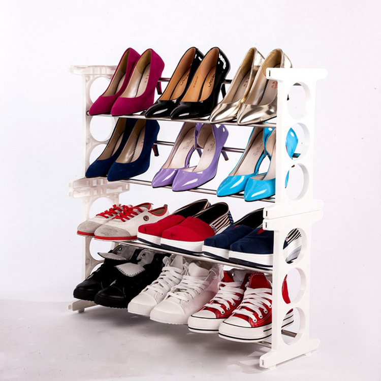4 Tier Stainless Steel Shoe Rack Shoe Storage (White)