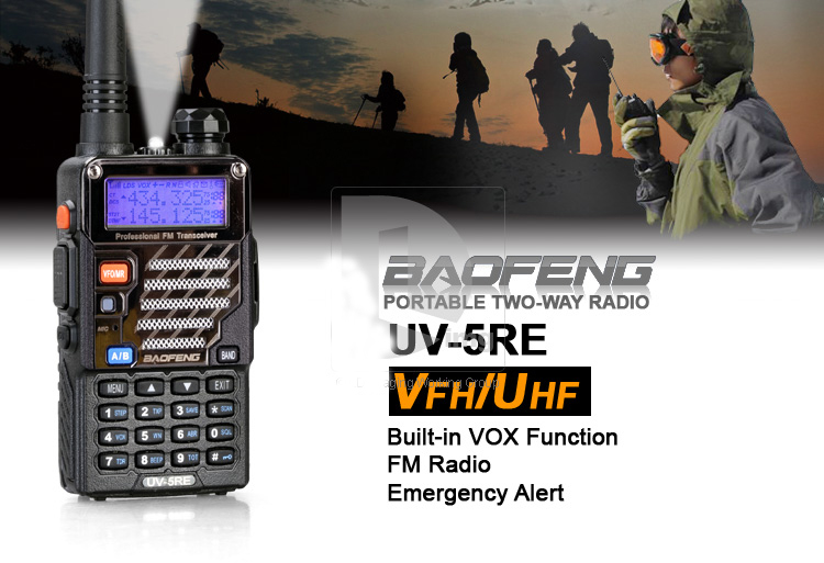 Baofeng UV-5RE 5W 128CH VHF/UHF Dual Band Portable Two Way Walkie Talkie