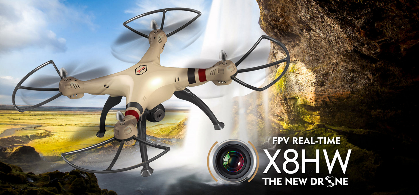 Syma X8HW WIFI FPV With 1MP HD Camera 2.4G 4CH 6Axis Altitude Hold RC Quadcopter (Gold)