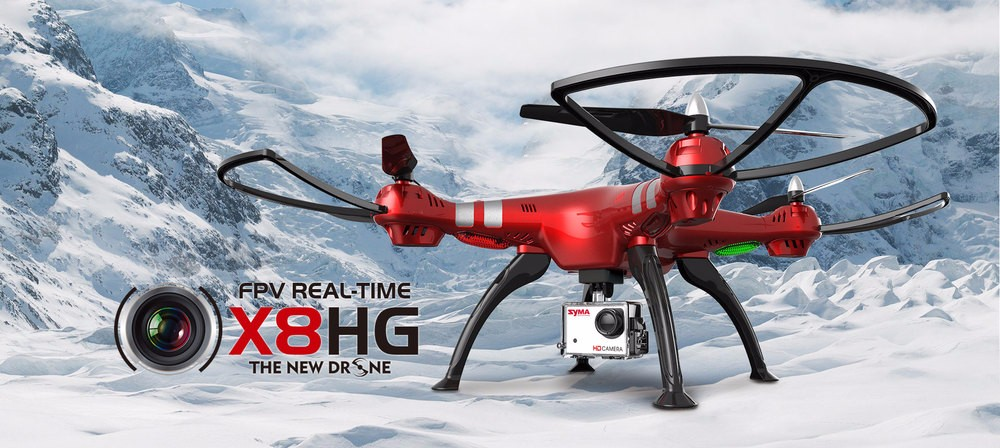 Syma X8HG With HD Camera High Hold Mode 2.4G 4CH 6Axis RC Quadcopter (Red)