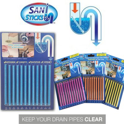 Sani Sticks - Keeps Drain Clear & Odor-Free 6 color/Scent