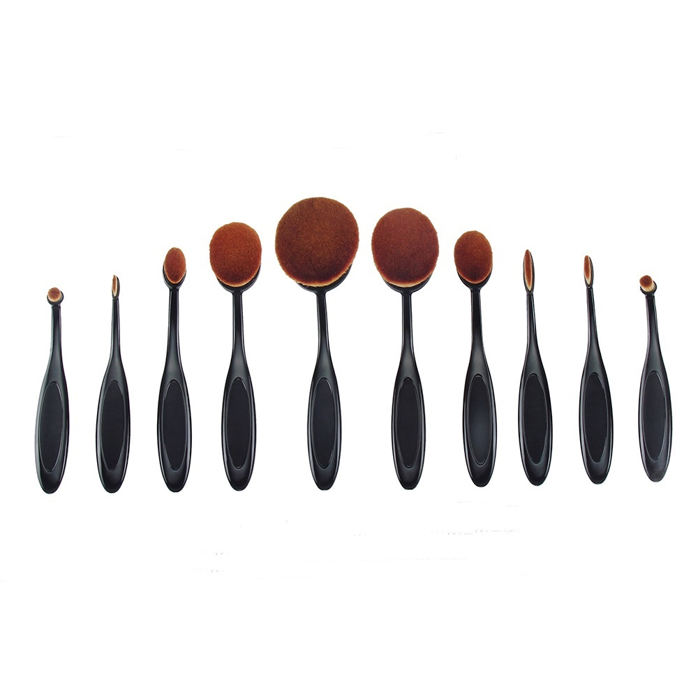 10 Pcs High Quality Professional Cosmetic Foundation Brush Eyeshadow Oval Curve Makeup Brush Set