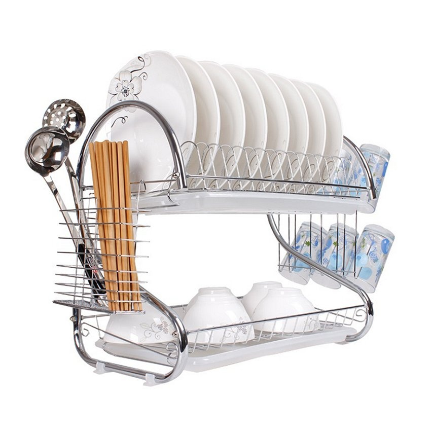 Double Layer Dish Drainer Dish Rack (Silver)