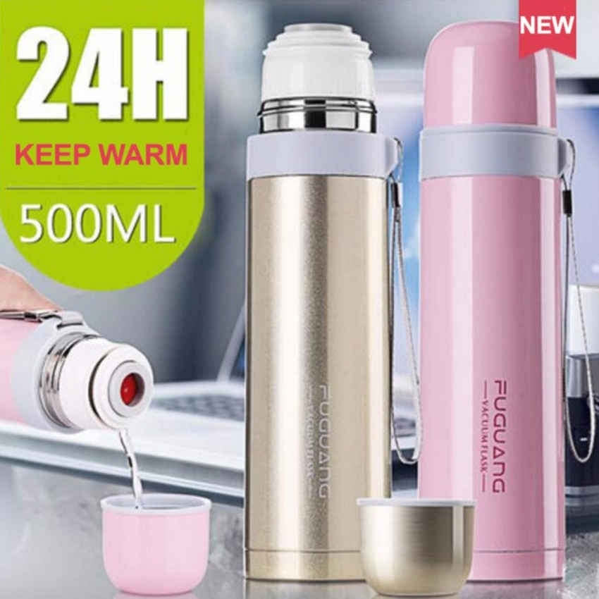 Fuguang 500ml Thermal Vacuum Flask Stainless Steel Thermos Water Bullet Bottle (Brown)