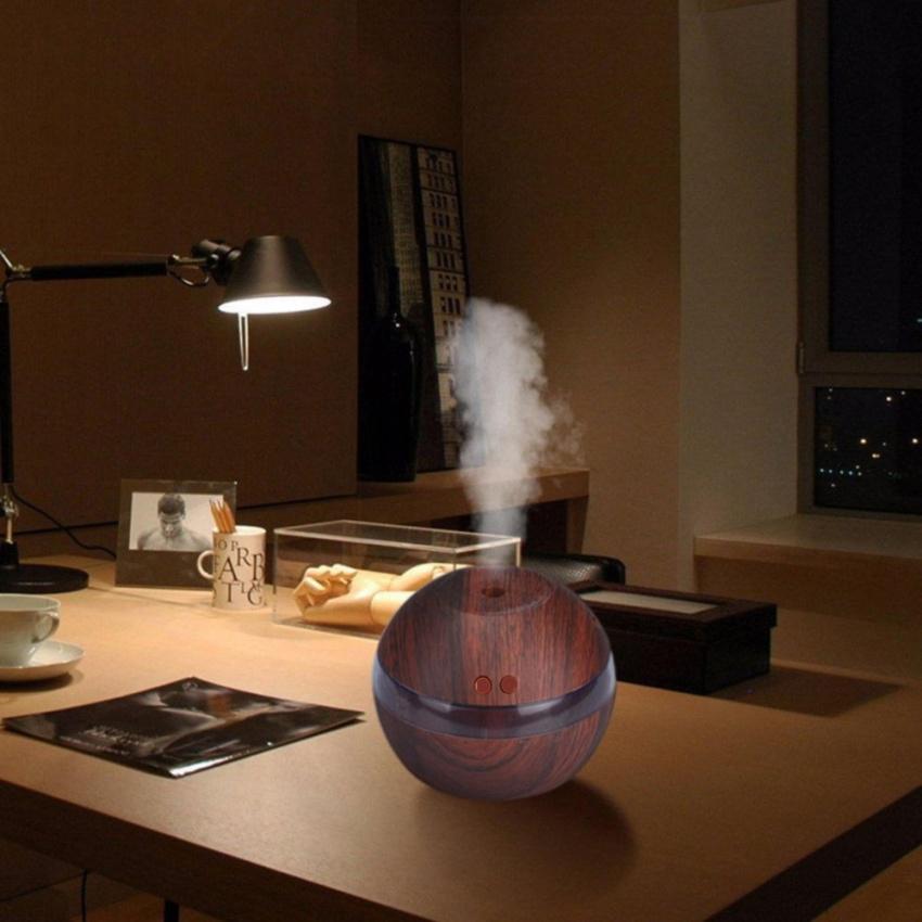Ultrasonic Mini Desk Home Air Humidifier Air Purifier Aroma Diffuser (Dark Wood)