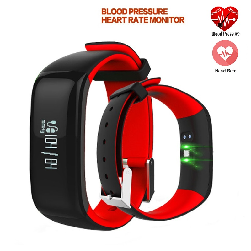 P1 Blood Pressure Heart Rate Monitor Curve Screen Display Bluetooth Fitness Smartband For Android IOS