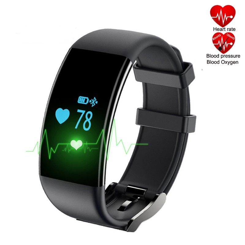 DF30 Heart Rate Blood Pressure Blood Oxygen Monitor Bluetooth Fitness Smartband (Black)