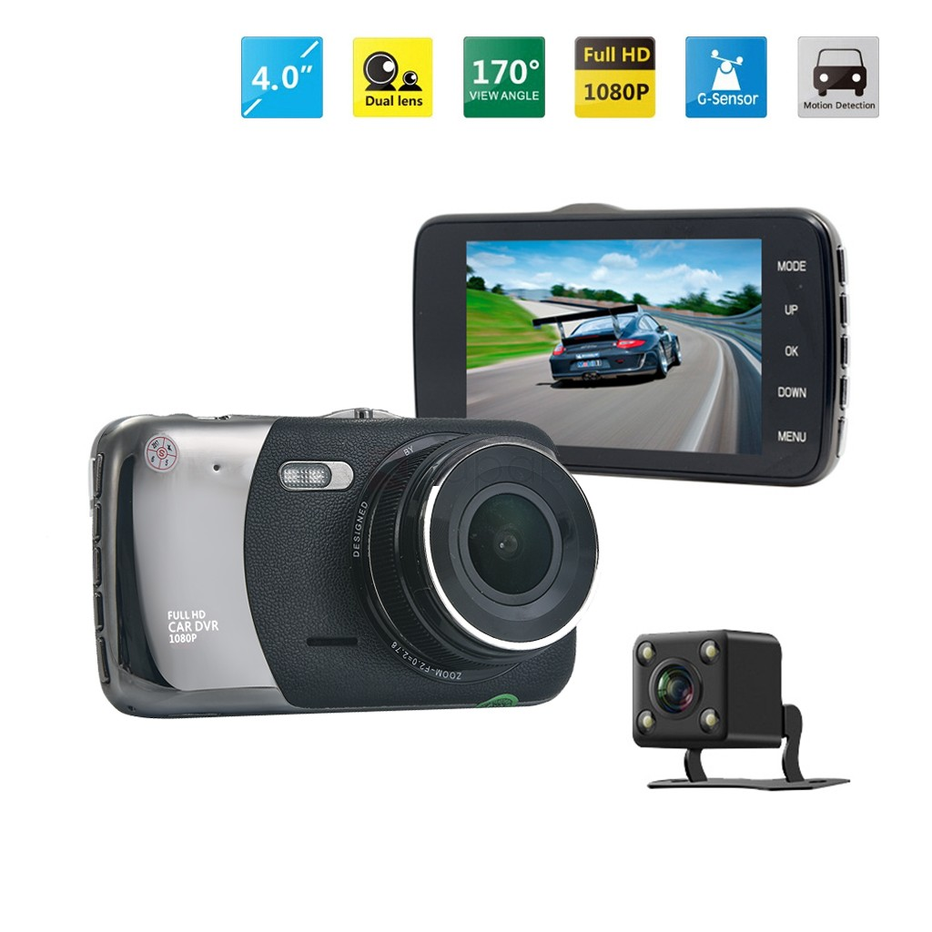 "T652 4"" Screen 1080P Night Vision Dual Camera Video Recorder Car Camera"