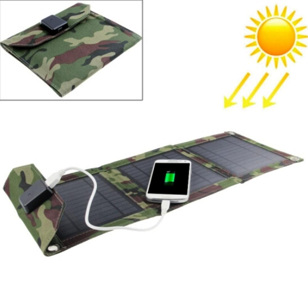 EWING Portable Foldable Outdoor 3 Solar Panel Charger Cover Solar Powerbank