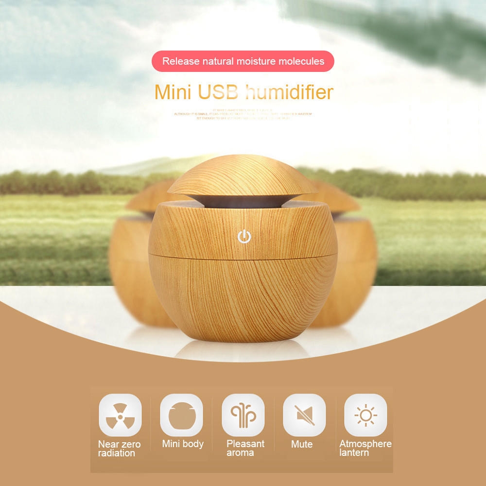 Mini Home Ultrasonic Wood Air Humidifier Aroma Diffuser